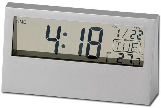 SACHI plastové stolní hodiny, 5 funkcí, stříbrná