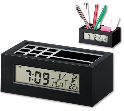 KEANU plastový stojánek na psací potřeby a hodiny, 5 funkcí, černá