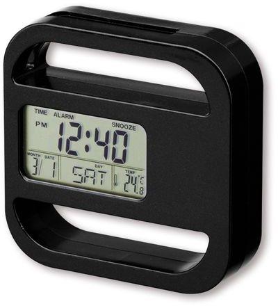RAMOS plastové stolní hodiny s magnetem, 5 funkcí, černá