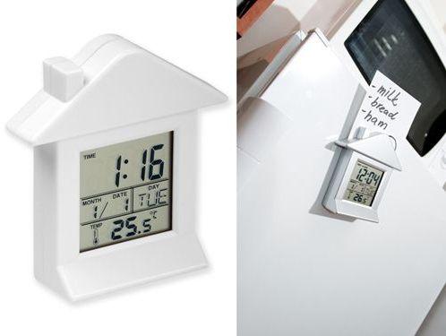VILLA plastové stolní hodiny s magnetem, 6 funkcí, bílá