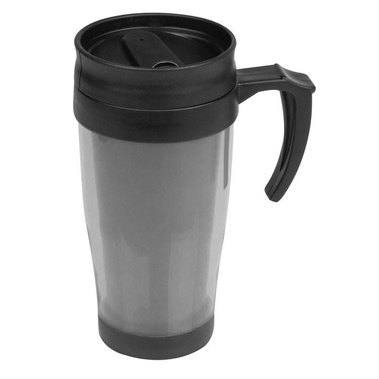 Plastový šedý termohrnek