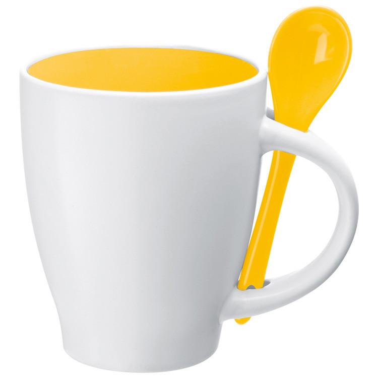 Žluto-bílý porcelánový hrnek