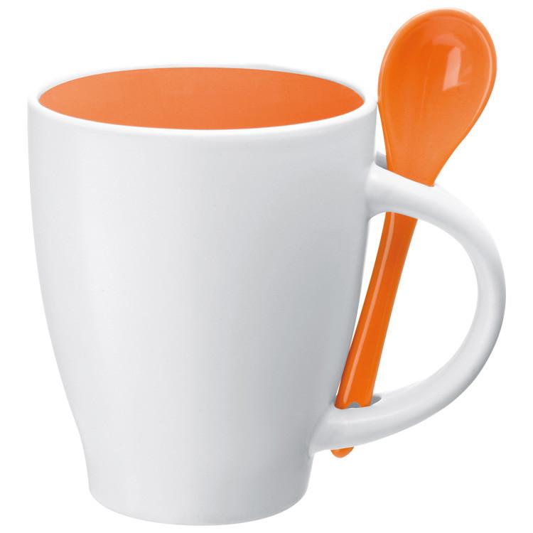 Bílo-oranžový porcelánový hrnek
