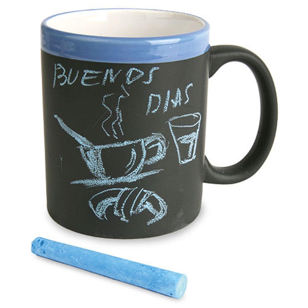Keramický hrnek s plochou pro psaní křídou modrý