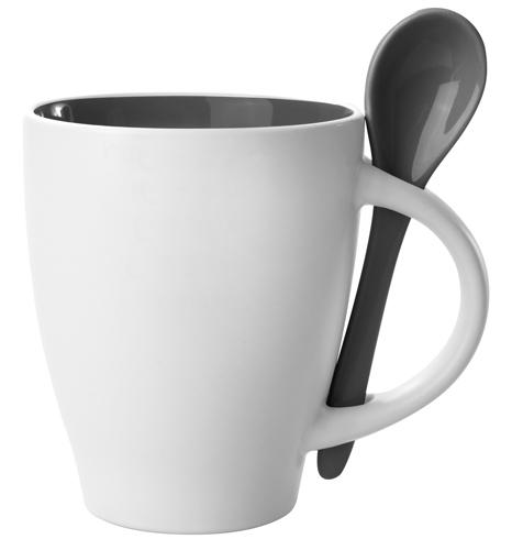 Černý hrnek s lžičkou - 300 ml