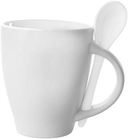 Bílý hrnek s lžičkou - 300 ml