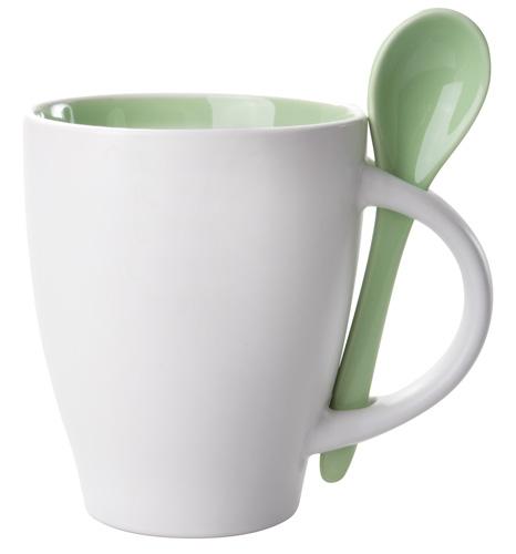 Zelený hrnek s lžičkou - 300 ml
