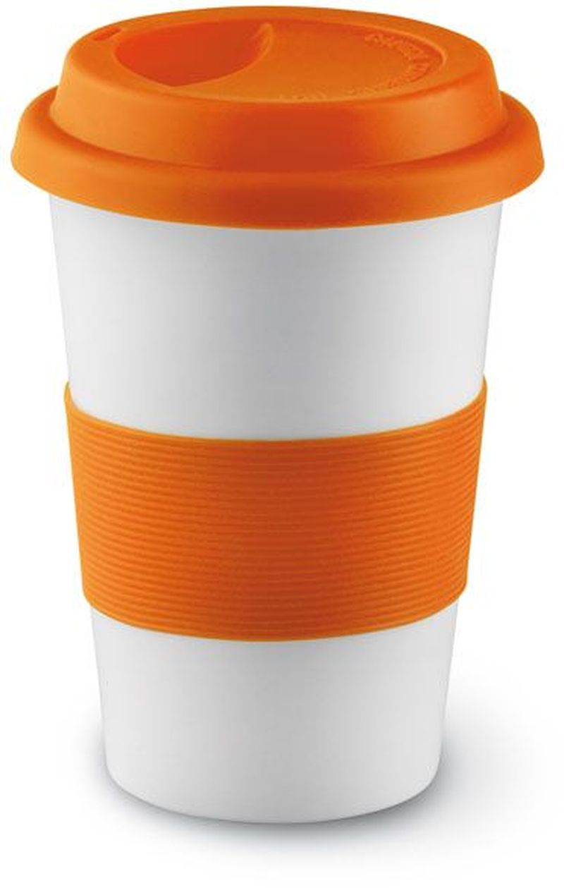 Oranžový keramický hrnek s víčkem