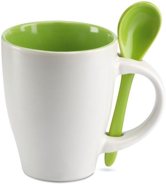 Zelený šálek se lžičkou