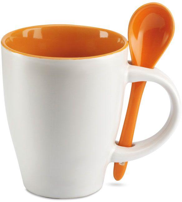 Oranžový šálek se lžičkou