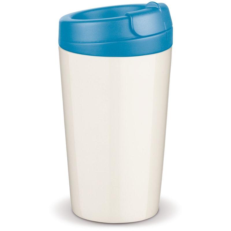 Flavour porcelánový hrnek s dvojitou stěnou, světle modré víčko