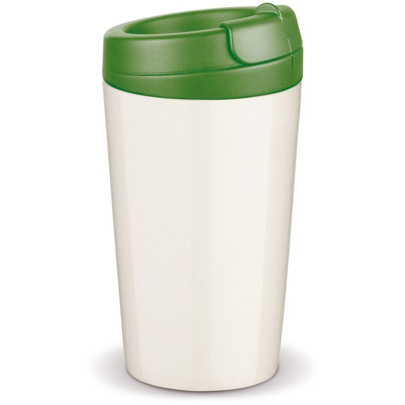 Flavour porcelánový hrnek s dvojitou stěnou, zelené víčko