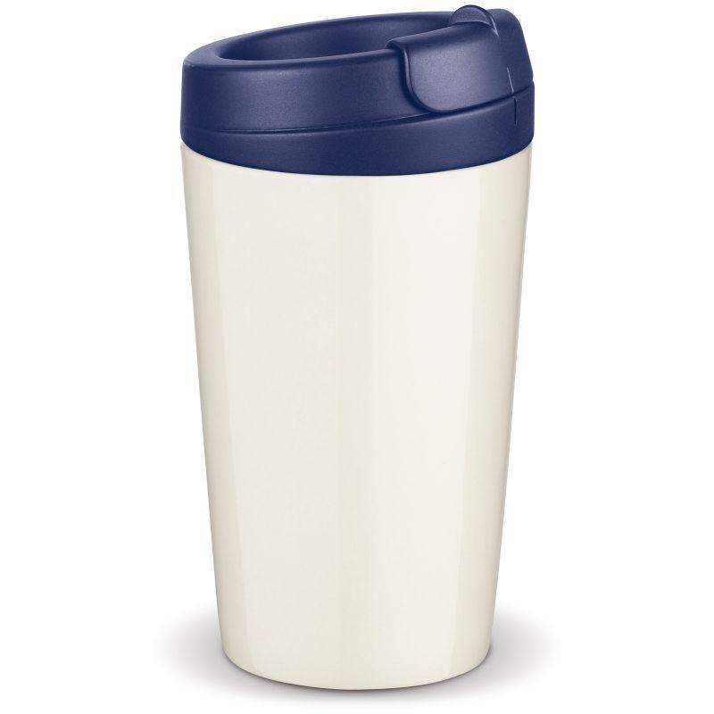 Flavour porcelánový hrnek s dvojitou stěnou, modré víčko