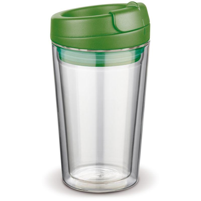 Flavour skleněný hrnek s dvojitou stěnou, zelené víčko