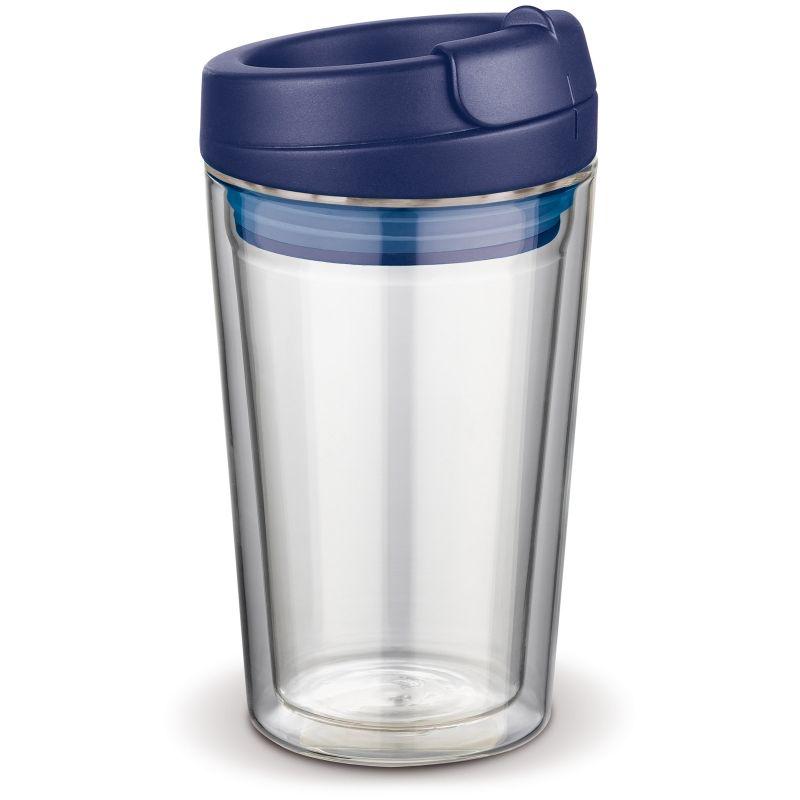Flavour skleněný hrnek s dvojitou stěnou, modré víčko