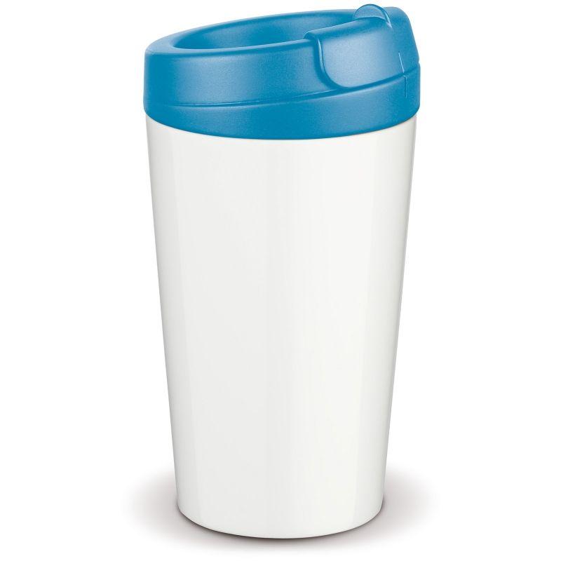 Flavour plastový hrnek s dvojitou stěnou, světle modré víčko