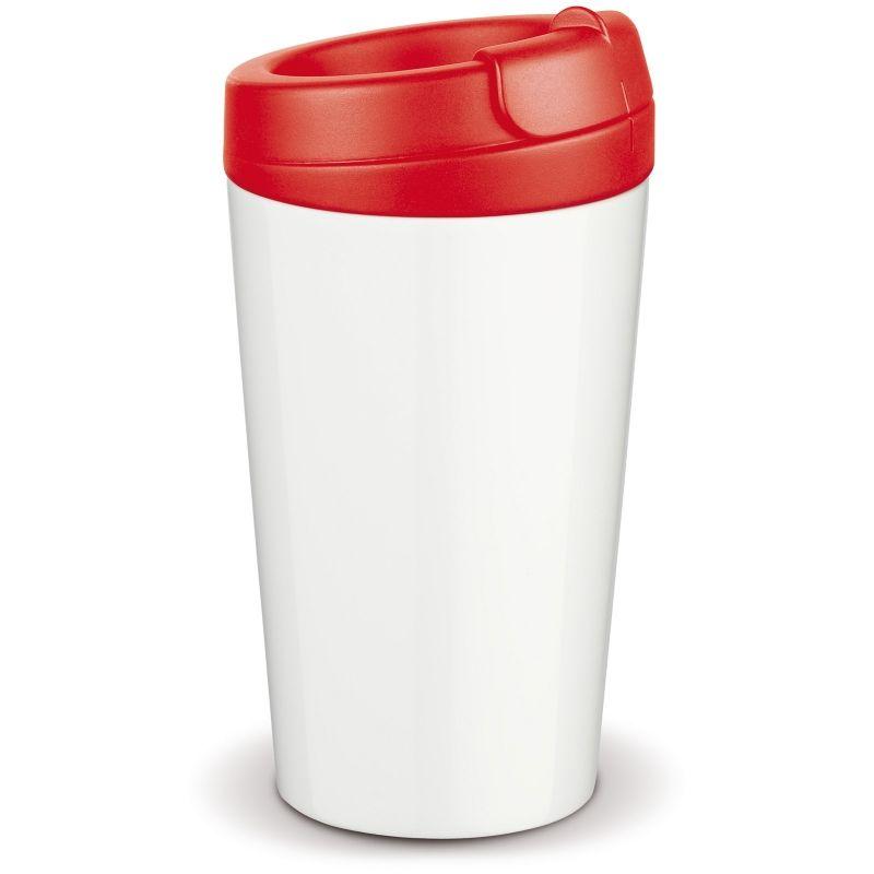 Flavour plastový hrnek s dvojitou stěnou, červené víčko