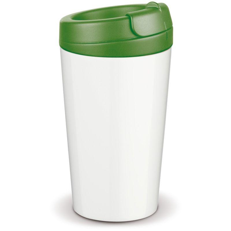 Flavour plastový hrnek s dvojitou stěnou, zelené víčko