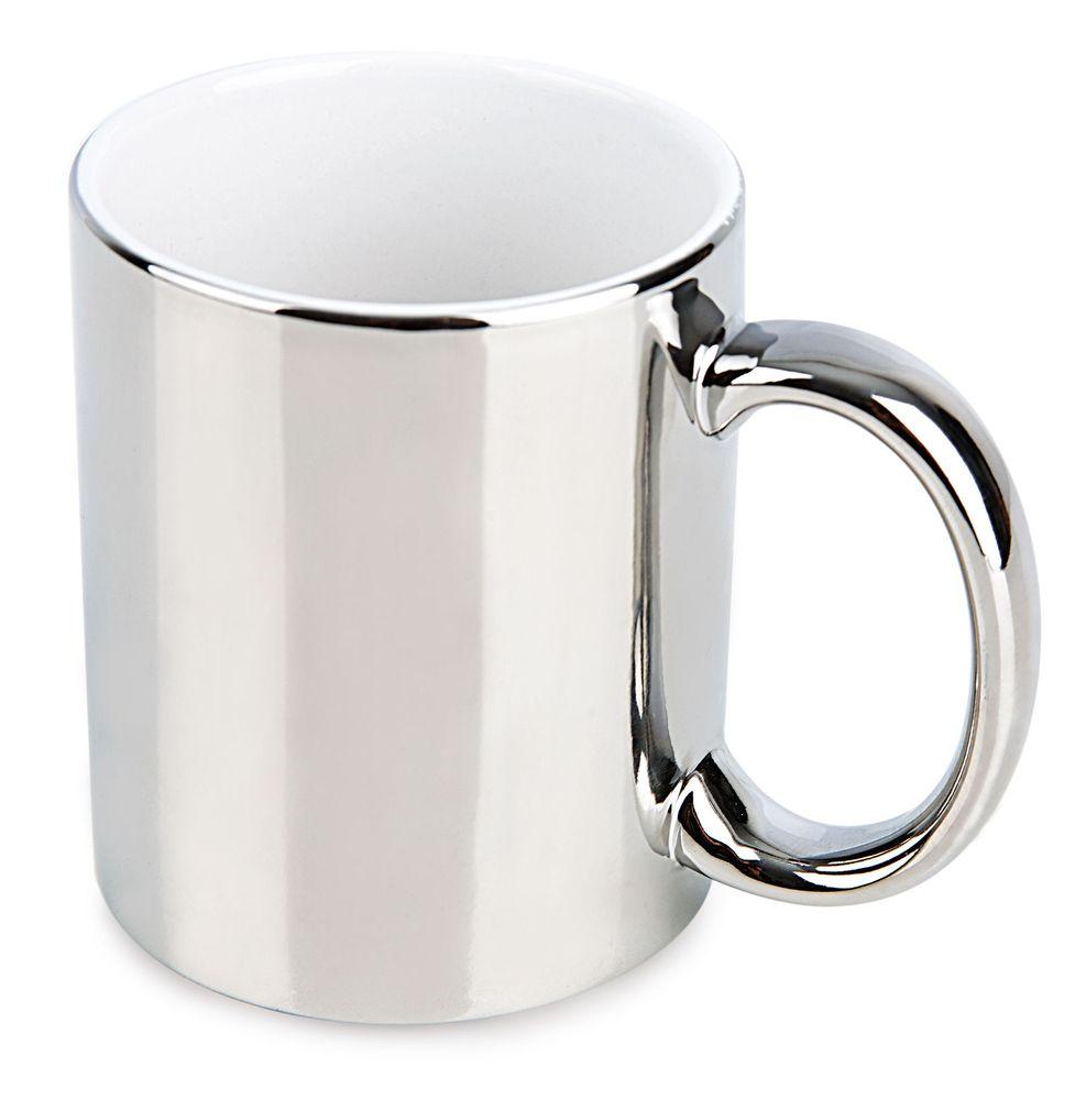 Metalický keramický hrnek stříbrný