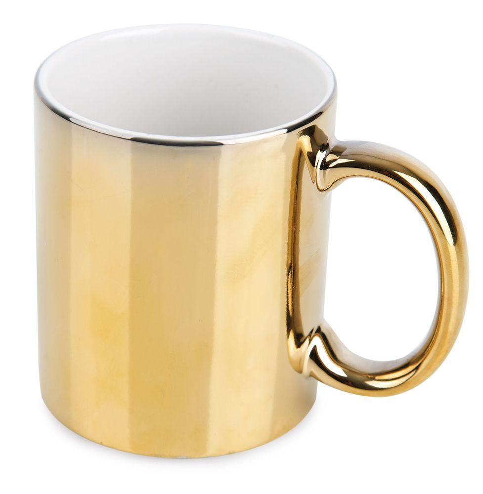 Metalický keramický hrnek zlatý
