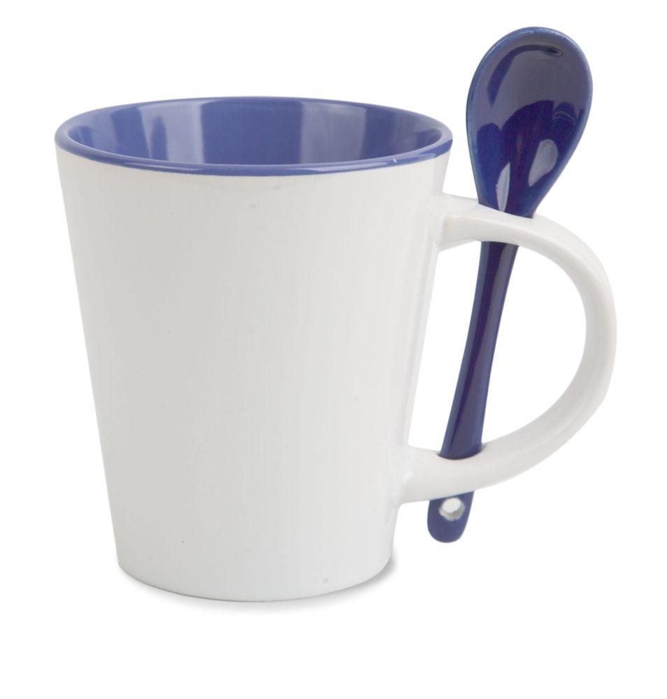 Porcelánový hrnek se lžičkou - vnitřek modrý
