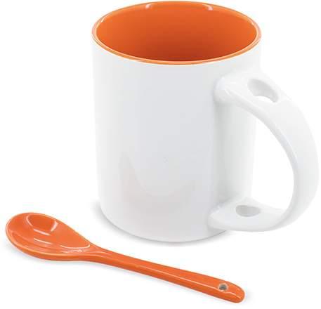 Hrnek se lžičkou, oranžová