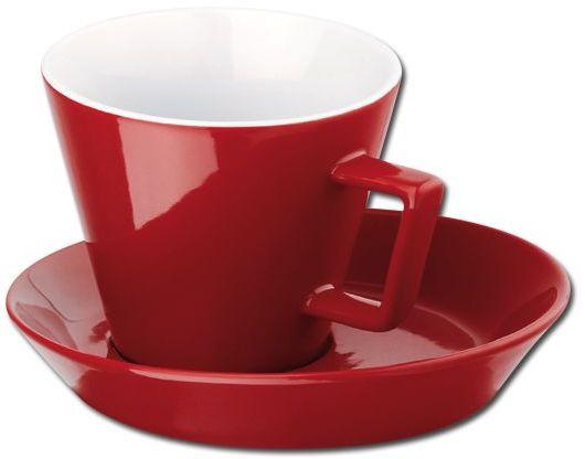 CLAUDE keramický šálek s podšálkem, 150 ml, červená
