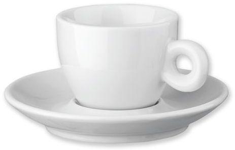 PRESSO porcelánový šálek s podšálkem, 75 ml, bílá
