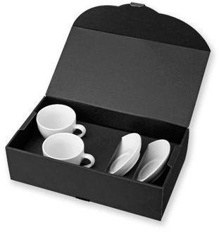 IMRE sada 2 keramických šálků s podšálky v dárkové krabici, 150 ml, bílá