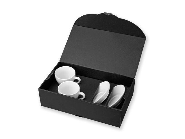 IMRE sada 2 keramických šálků s podšálky v dárkové krabici, 150 ml