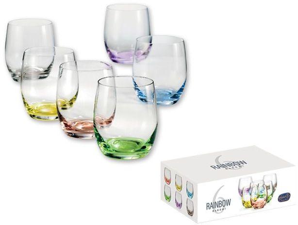 RAINBOW SHOTS 6dílná sada sklenic na alkohol s barevnou dekorací 60 ml, transp. průsvitná