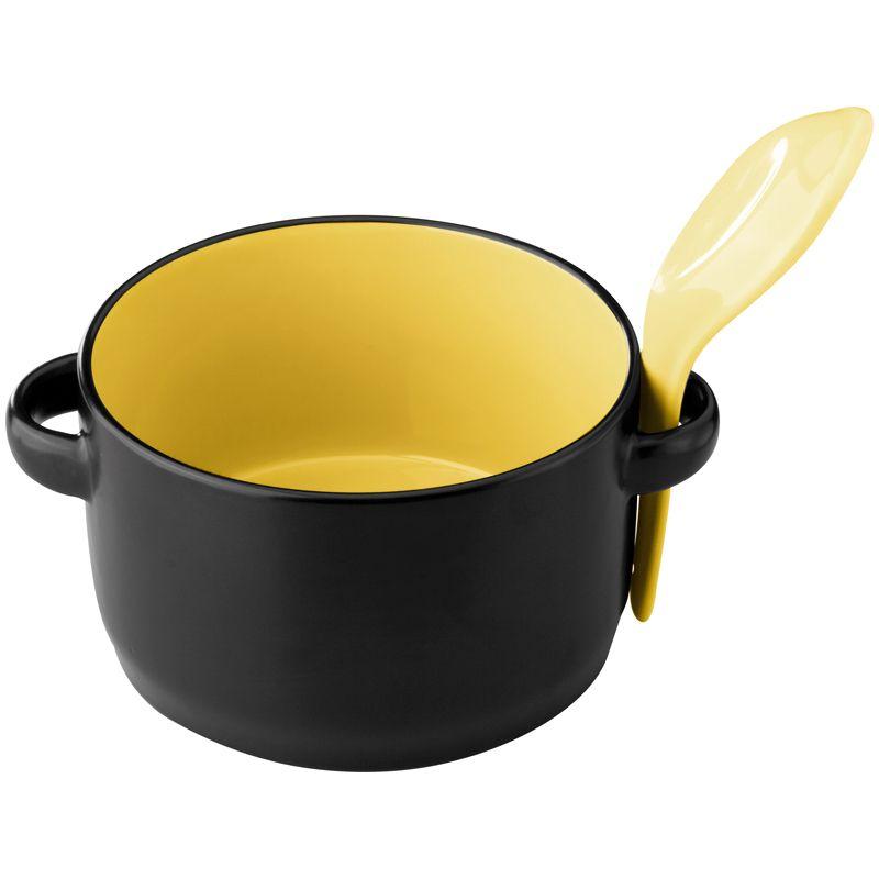 Černý polévkový hrnek
