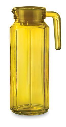 Žlutý džbán s plastovým víčkem s potiskem