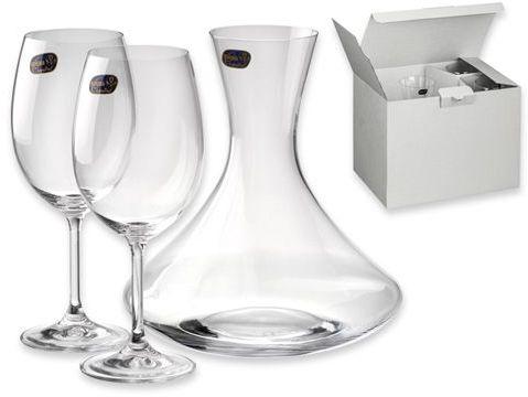 WINE SET 3dílná sada - karafa 1600 ml, sklenice 2x450 ml, BOHEMIA