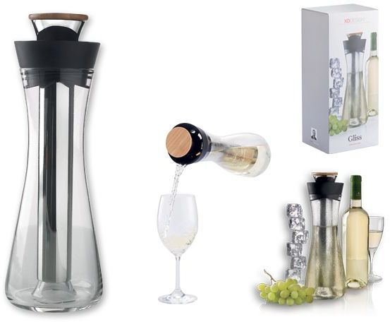 DIANDRA skleněná karafa na bílé víno s chladícím dílem, černá