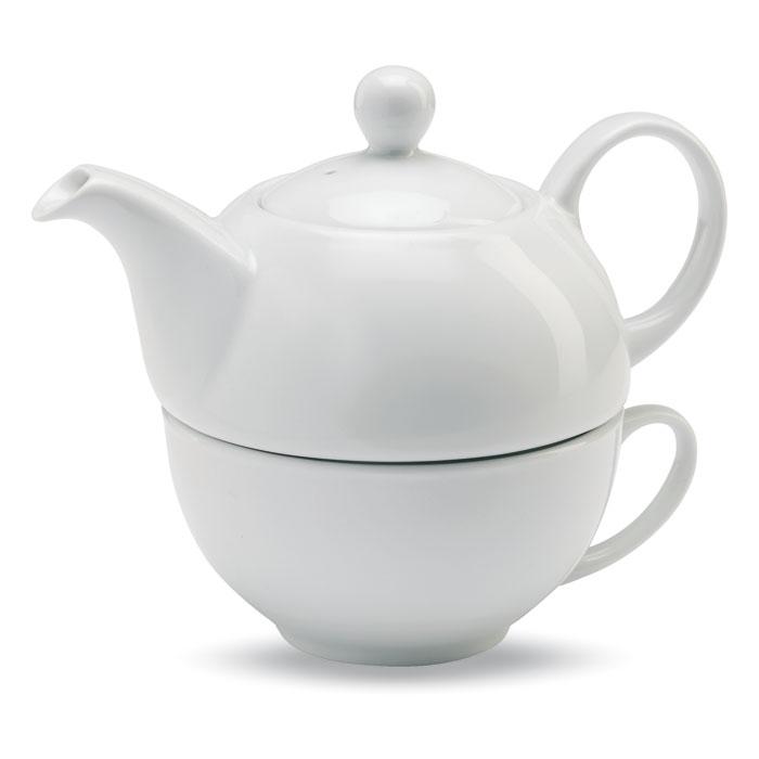 Bílá keramická čajová sada