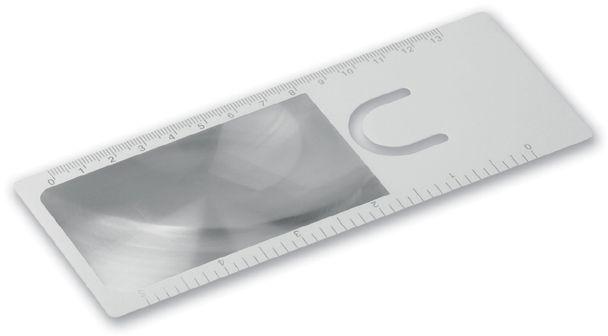 HENRIETA plastová lupa se záložkou a pravítkem, 13 cm, transp., frosty bílá