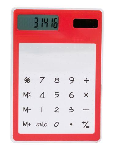 Červená solární průhledná kalkulačka