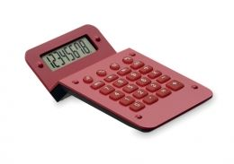 Červená plastová kalkulačka