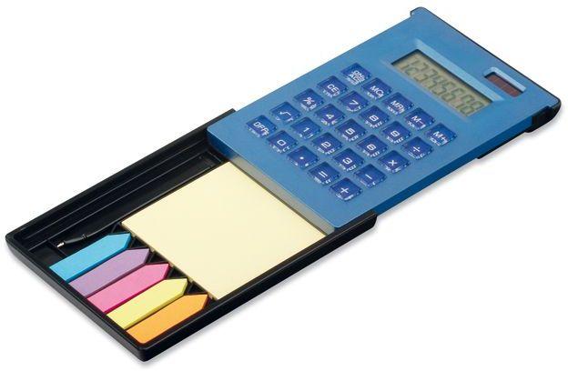ZIGGY duální kalkulačka s 8místným displejem s kul. perem a lep. papírky, modrá