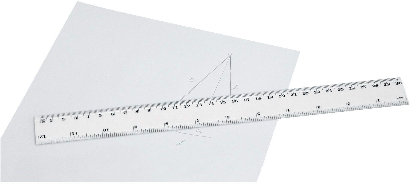 RULER plastové pravítko, 30 cm, bílá
