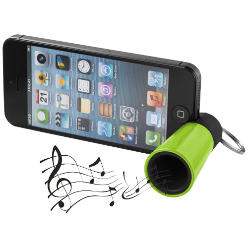 Zelený zesilovač zvuku a stojánek