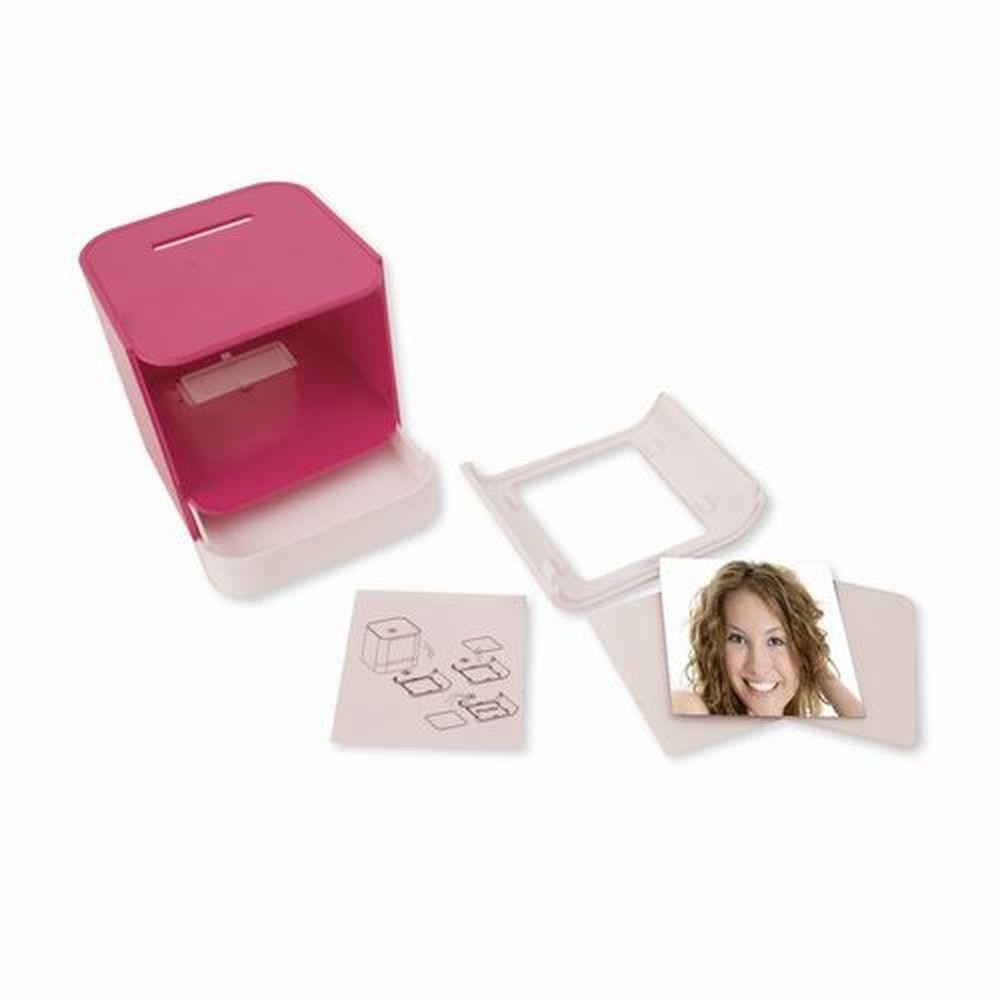 Kasička - rámeček na foto bílo-růžový