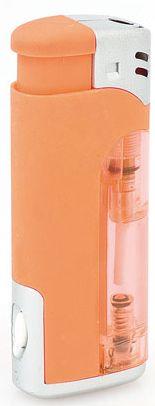 Oranžový zapalovač s led světlem
