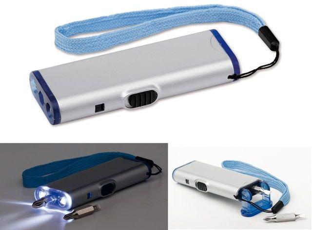 TOOLIGHT plastový šroubovák s 2 LED svítilnou, 4 funkce, transp., frosty modrá