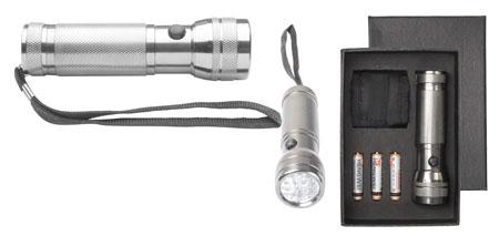 LED svítilna stříbrná