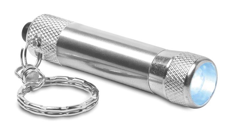Hliníková stříbrná svítilna s přívěškem s potiskem