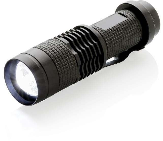 Hliníková kapesní LED svítilna FUCUS - černá
