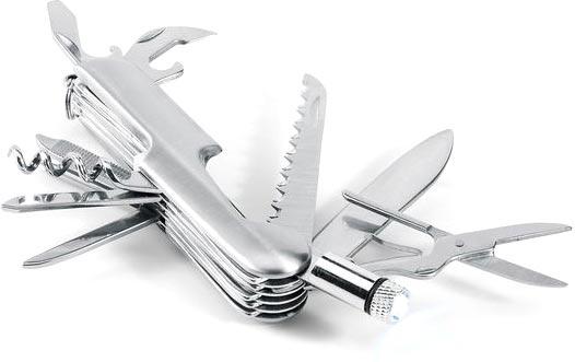 Multifunkční kapesní nůž matně stříbrný
