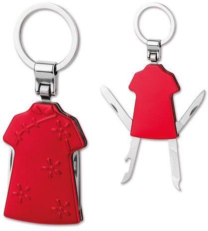 JASMEN kovový přívěsek - nožík, 4 funkce, červená